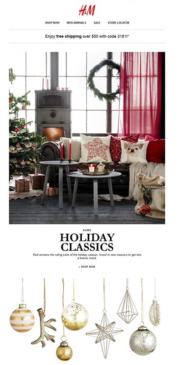 H&M:n uutiskirje isoilla kuvilla ja selkeillä otsikoilla